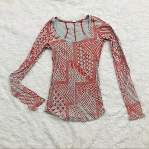 Free People Abstract Print Blue & Red Thermal